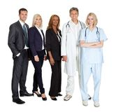 Group of workers on white background Royalty Free Stock Images