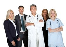 Group of workers on white background Royalty Free Stock Photos