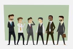 Group working businessmen in office clothes with standing poses. royalty free stock photo