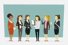 Group working women in office clothes with standing poses. Vecto stock photography