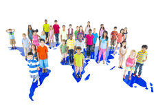 Group of World Children with World Map Royalty Free Stock Photography