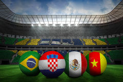 Group a world cup footballs Royalty Free Stock Image