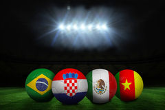 Group a world cup footballs Stock Photo
