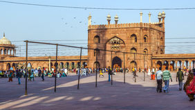 Group of worshipers rest on jama masjid in delhi Stock Image