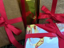 A group of wrapped gift boxes for someone special in greeting moments stock photography