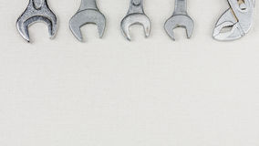 Group of wrenches heads. Wrenches in several different sizes on white background Stock Photo