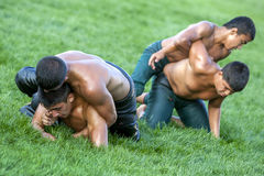 A group of wrestlers compete at the Elmali Turkish Oil Wrestling Festival in Elmali in Turkey. Stock Photo