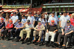 Group of WWII vets in the Winner's Circle,Saratoga Racetrack,2015 Stock Photo
