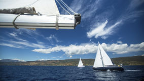 Group yacht sailing. Sailing yacht race. Sailing boat in the sea. Stock Image