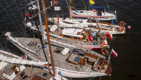Group of yachts and boats in the harbor. SZCZECIN, POLAND - JUNE 14, 2014: Sail Szczecin 2014.Group of yachts and boats in the harbor.The tall masts of sailing Stock Photo