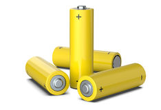 Group of yellow AA size batteries isolated on white, 3D render. Group of yellow AA size batteries isolated on white, 3D render Stock Photo
