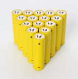 Group of yellow batteries. Stock Photo