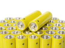 Group of yellow batteries. Stock Images