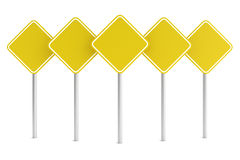 Group of yellow blank rectangle road signes Stock Photography