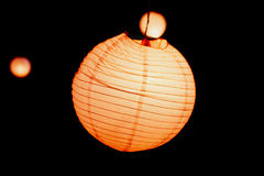 Group of yellow Chinese paper lanterns Stock Photography