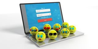 Group of yellow emojis on a laptop on white background. 3d illustration. Group of yellow emoticons on a laptop isolated on white background. 3d illustration Royalty Free Stock Image