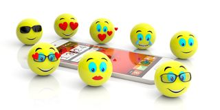 Group of yellow emojis and a smartphone on white background. 3d illustration royalty free illustration