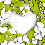 Group yellow-green and white hearts on white background. Group hearts on white background. Valentine`s day background. 3d render illustration Royalty Free Stock Image