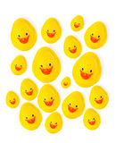 Group of yellow rubber ducks Royalty Free Stock Image