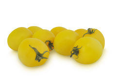 Group of yellow tomatoes isolated on white background Stock Photo