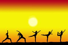Group of yoga female silhouettes with a sunset on the background and copy space for your text stock illustration