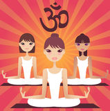 A group of yoga girls. Teaching yoga in a group stock illustration