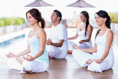 Group of yoga people Stock Image