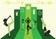 Group of  yoga poses on green background design, illustration Stock Images