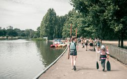 Paddling and kayaking school stock photos