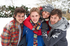 Group of young adults in snow. Smiling at camera royalty free stock photos