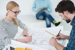 Group of young architects at office Royalty Free Stock Photos