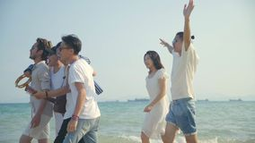 Young asian adults men and women having fun walking singing on beach. Group of young asian adults men and women having fun walking singing on beach, rear view stock video footage