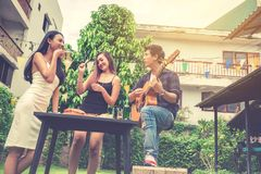 Group of young asian people happy while enjoying garden party an royalty free stock photography