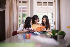 Group of young asian students high school working report together Stock Photography