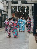 KYOTO, JAPAN, SEPTEMBER 14, 2017: group of young asian women wearing a traditional kimono dress royalty free stock photography