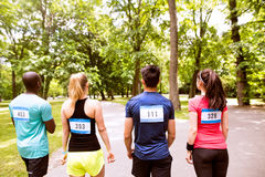 Group of young athletes prepared for run in green sunny park. Stock Photo
