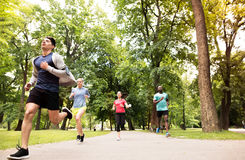 Group of young athletes running in green sunny park. Royalty Free Stock Photo