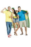 Group of young attractive Brazil supporters with beers. And Brazil flag Stock Photos