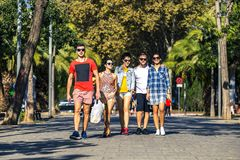 Group of young and attractive people is going along the alley. royalty free stock photo