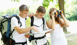 Group of young backpackers Royalty Free Stock Photos