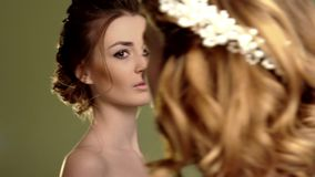A group of young beautiful girls. Two women face close-up. stock footage