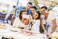 Group of young beautiful people sitting in a restaurant and taki Stock Photos