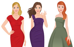 Group of young beautiful women in fashionable cocktail dresses o Royalty Free Stock Photography