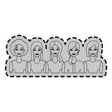 group of young beautiful women icon image stock illustration