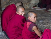 A naughty Bhutanese young novice monk makes faces to his friend when during study , Bhutan. This group of young Buddhist novice monks reading and chanting . one royalty free stock photo
