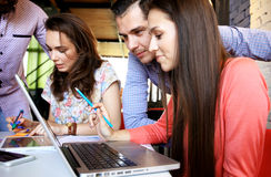 Group of young business people and designers.They working on new project. Stock Images
