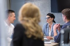 Startup Business Team At A Meeting at modern office building Stock Images
