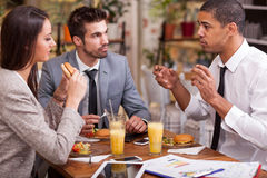Group of young Business people enjoy in lunch at restaurant Stock Photo