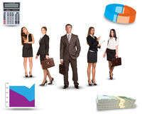 Group of young business people with graphs Royalty Free Stock Photos