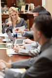 Group of young business people or lawyers - meeting in an office Stock Photo